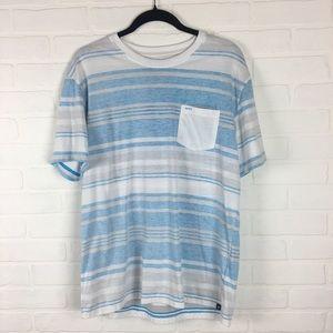Hurley Short Sleeve Blue and White Pocket T-shirt